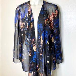 Alex Evenings Black Abstract Drapey Jacket Top 1X